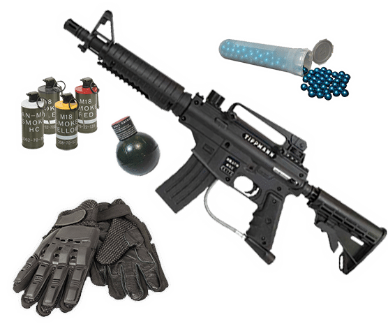 selection of paintball upgrades including paintball gun and smoke grenades.